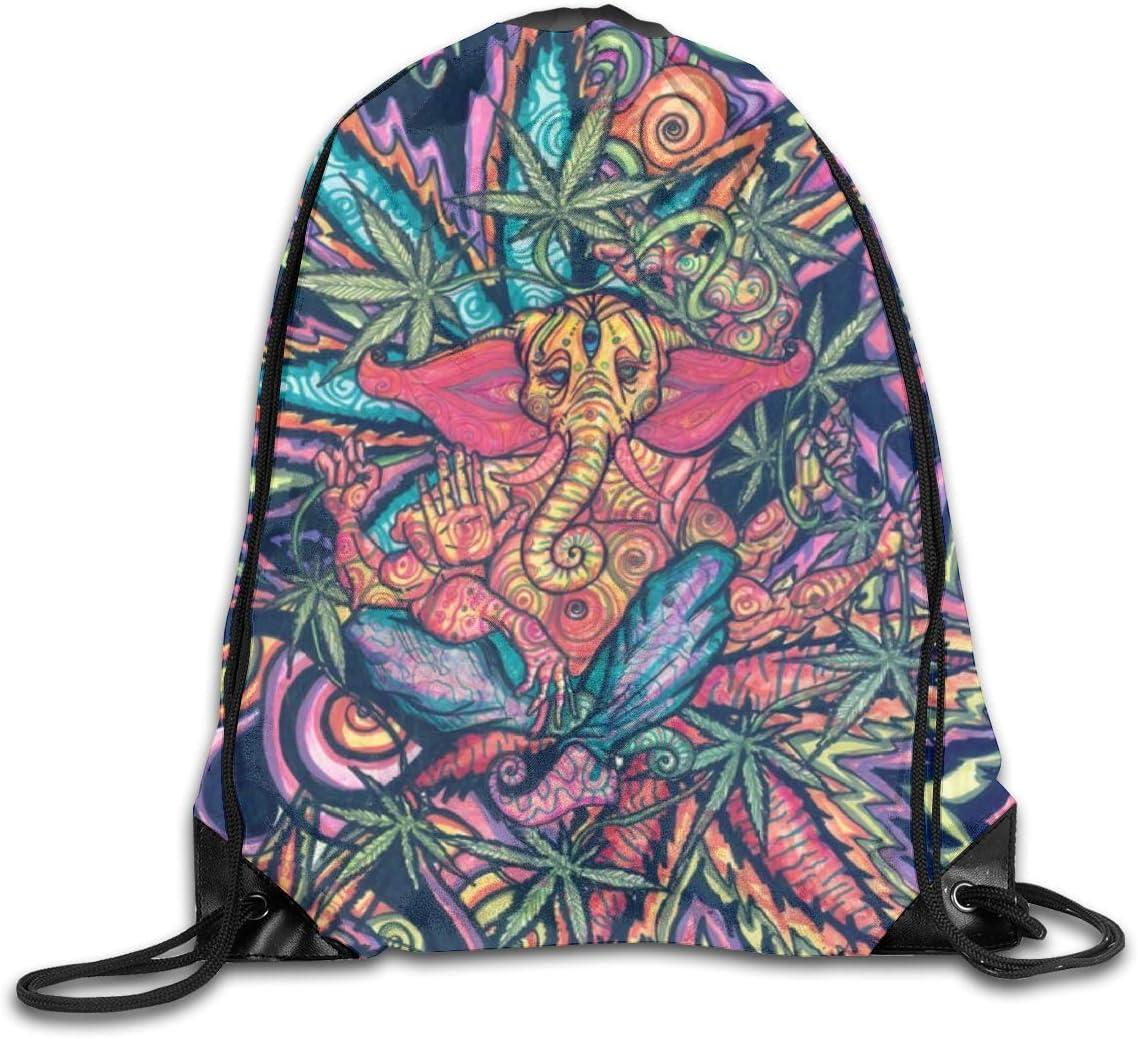 Marijuana Leaf Drawstring Backpack Cannabis Weed Sports Bag Sackpack