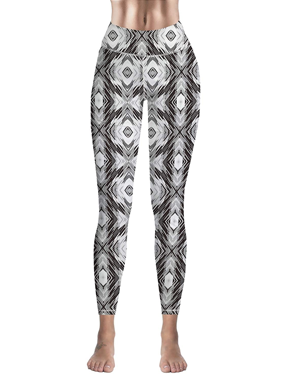 Bulingling Leggings for Women Yoga High-Waist Tummy Control Workout Pant Tights Abstact Ethnic Geometry
