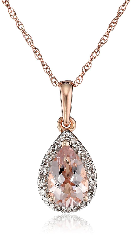 fad53ace6c02 Amazon.com  10K Rose Gold Morganite with Diamond Accent Drop Pendant  Necklace