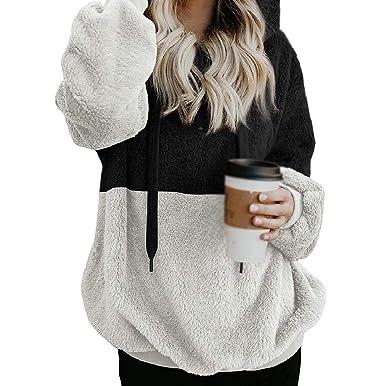 YUNY Women Sweatshirt Faux Fleece Pullover Casual Tops Outwear Black XS