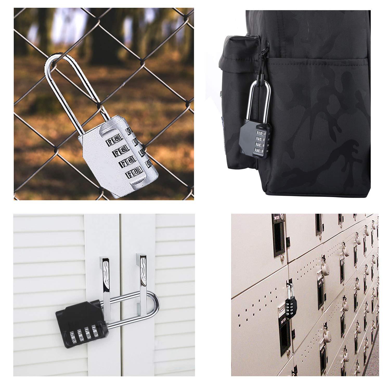 2.5 Inch Long Shackle 4 Digit Combination Lock - Zinc Alloy Combo Padlock for School Gym Locker,Backyard Gate, Fence, Toolbox, Case, Storage (2 Pack)
