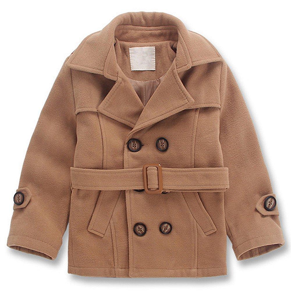QJH Kids Boys'Wool Blend Duffle Coat Double Breasted Belt Overcoat