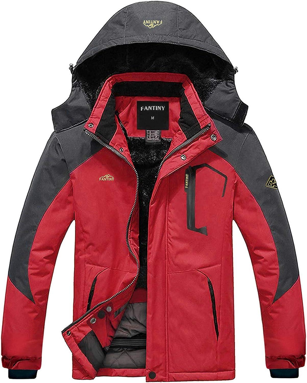 Womens Mountain Waterproof Ski Jacket Windproof Rain Jacket U219WCFY029,Red,XL