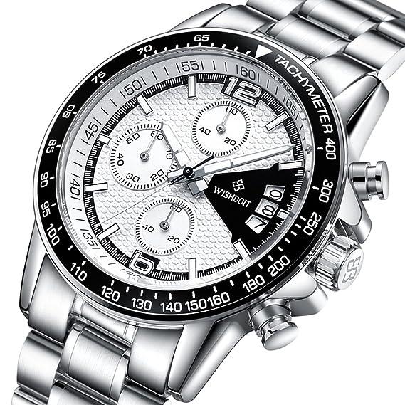 Marca wishdoit Hombres del reloj del negocio del deporte Relojes para hombre primera marca diseño de lujo correas de cuero wsd002-gbai: Amazon.es: Relojes