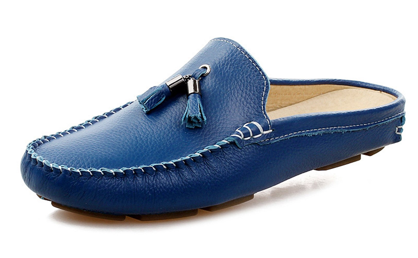 Santimon Men's Slippers Mules Clogs Tassel Leather Comfortable Slip on Shoes Casual Loafters Blue 5.5 D(M) US