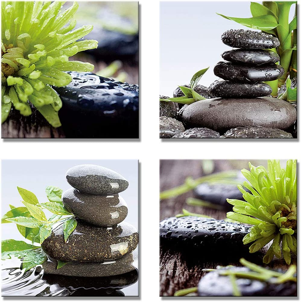 Zen Wall art - 4 Panels Green Spa Balanced Black Stones Rain Water Canvas Print Wall Stickers for Home Office Decor (b 03, 16x16inch)
