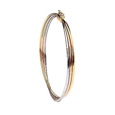 0e98c568ef9993 JQS - 9ct Three Colour Gold Oval Russian Style Hinged Wedding Bangle  Hallmarked Weight 5.6g: Amazon.co.uk: Jewellery