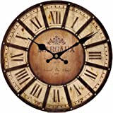 Upuptop 16inch Round Classic Wall Clock Wine Shop Store Decor Solid Paris Style Vintage Wood Pattern Home Brown Color