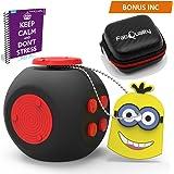 NOUVEAU ET AMÉLIORÉ Faites attention d'Anxiété Cube jouet avec eBook CAS BONUS inclus (Anglais) - soulage le stress et l'anxiété et vous détendre pour enfants et adultes - Bleu/rouge