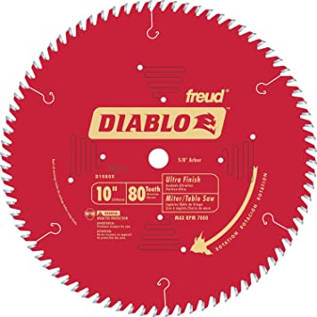 Diablo D1080x 10 80 Tpi Ultra Finish Chop Slide Miter And Table Saw Blade Amazon Com