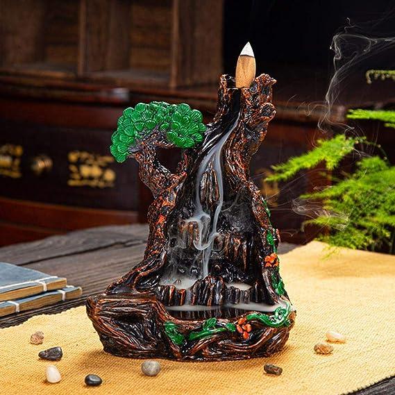 創造的な若い僧侶の渓流雲の白檀のお香の道の贈り物を見るために線香の煙のバック樹脂香香炉の装飾品,渓流