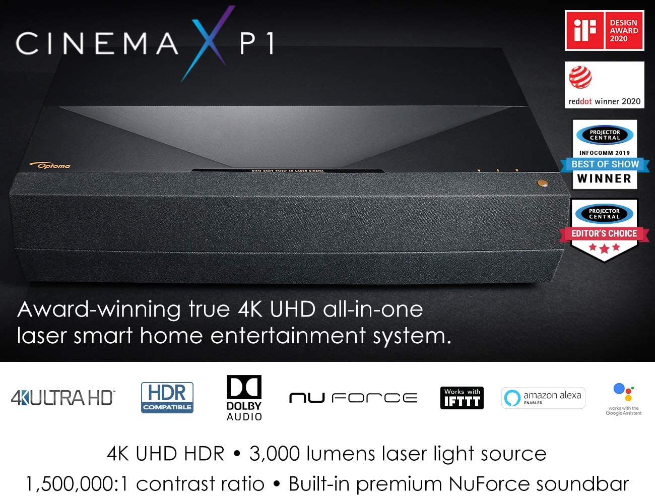 Optoma CinemaX P1 4K UHD Laser TV Home Theater Projector Bright 3000 Lumens Ultra Short Throw Integrated NuForce Soundbar Stream Netflix and Prime Video Works with Alexa and Google, Black