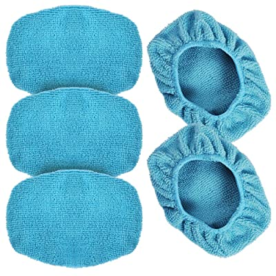 """eFuncar Car Care Microfiber Cloths for Windshield Cleaning Tool, Windshield Cleanner Wand Replaceable Glass Cleaning Bonnets, Interior Auto Window Cleaner Washing Pads, Fit 5"""", Blue, 5 Pack: Automotive"""
