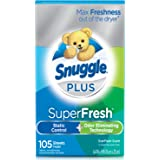 Snuggle Plus Super Fresh Fabric Softener Dryer Sheets with Static Control and Odor Eliminating Technology, EverFresh, 105 Count