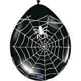 8 Halloween black and orange balloons cobwebs