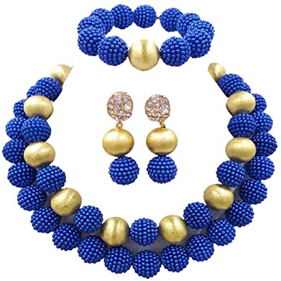 laanc Nigerian African Wedding Beads 2 Layers Multi-Color Imitation pearls Jewelry Sets AsU7mh5