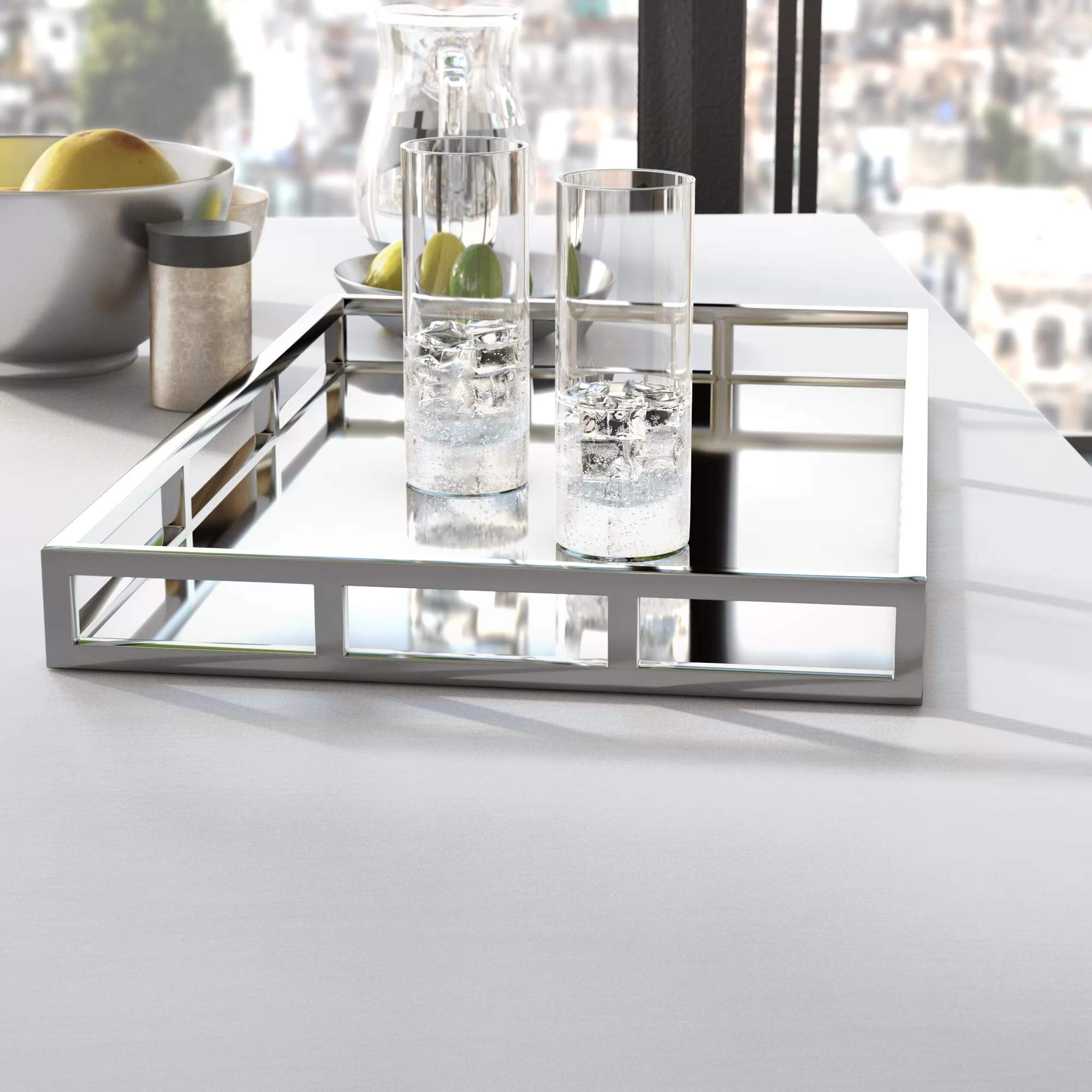 Le'raze Mirrored Vanity Tray, Decorative Tray with Chrome Rails for Display, Perfume, Vanity, Dresser and Bathroom, Elegant mirror tray Makes A Great Bling Gift –16X10 Inch by Le'raze (Image #2)