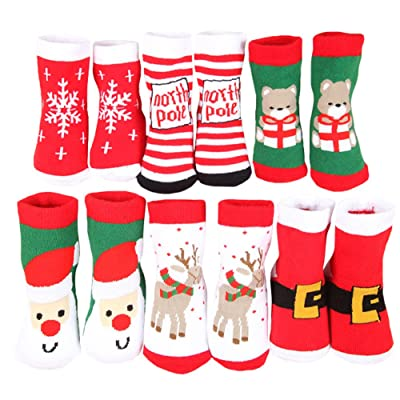 2Archer Baby Kids Cartoon Christmas Holiday Toddler Children's Thick Socks 6-Pack