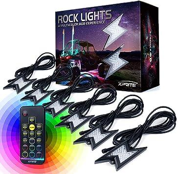 Xprite 6PC RGB LED Rock Lights Remote Control for Off-Road UTV Trucks Jeep 4X4