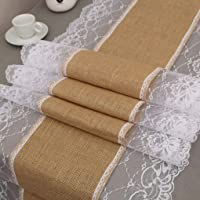 Elenxs European Style Lace Burlap Lace Hessian Table Runner Linen Tablecloth for Wedding Party