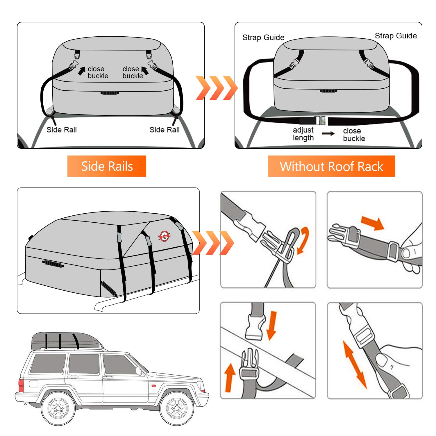 Car Roof Bag Top Cargo Carrier Travel Bag Luggage Storage Water Resistance Soft