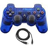 Bowink ワイヤレスコントローラ PS3用USBケーブル付属 (透明ブルー)