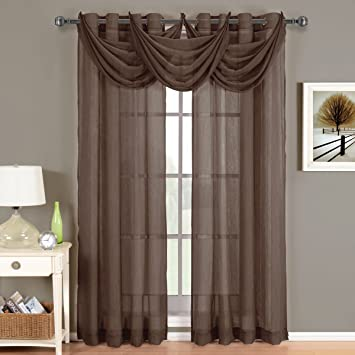 91abdfa8c8c Image Unavailable. Image not available for. Color  GoLinens Luxury Abri  Grommet Crushed Sheer Curtain Panel (Single) ...