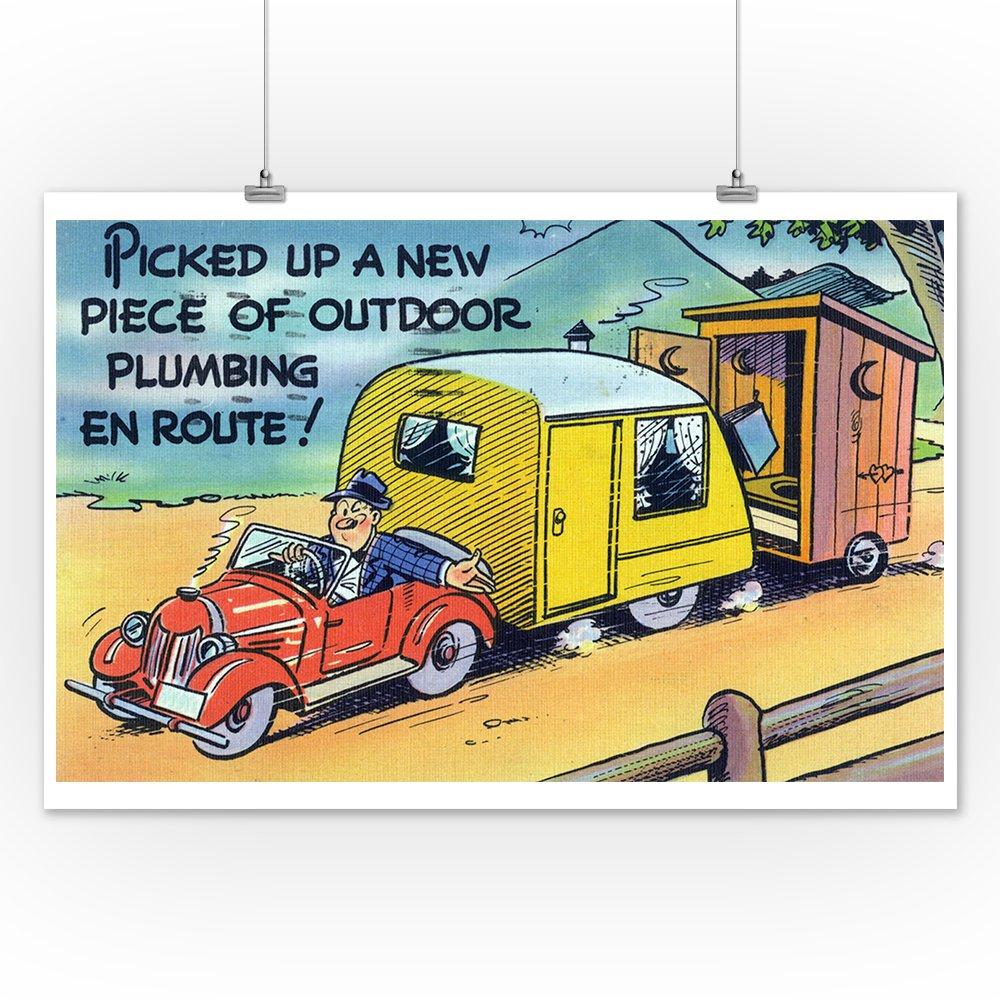 Amazon.com: Comical Cartoon - Man Towing a Trailer and an Outhouse ...