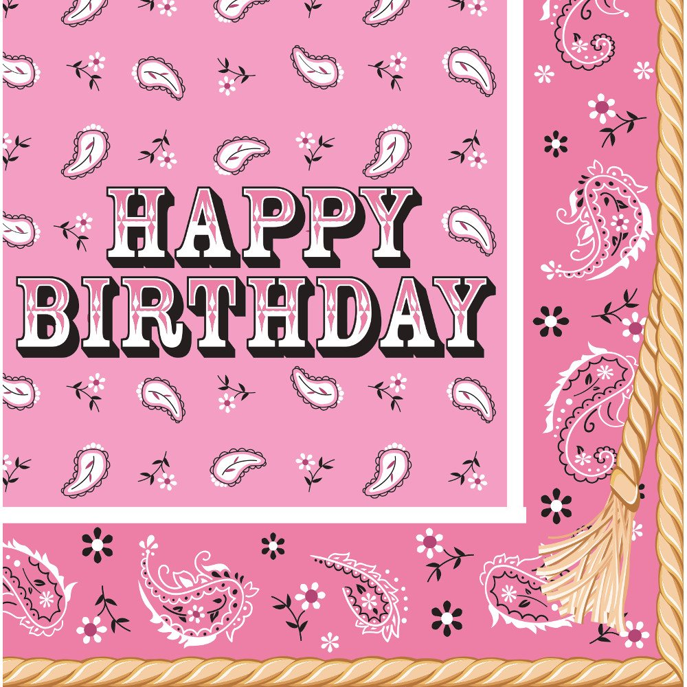 Club Pack of 192''Happy Birthday'' Pink Bandana Cowgirl Premium 2-Ply Disposable Lunch Napkins 6.5''