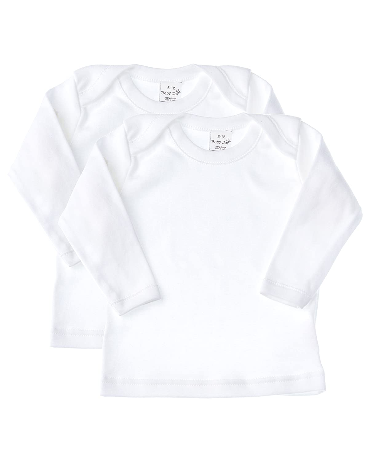 Baby Jay Long Sleeve Undershirt 2 Pack -White Cotton Baby T Shirt, Lap Shoulder WTLE-2PK