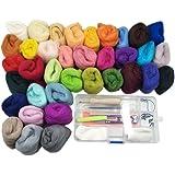 Laine de Tricotage Kit de Feutrage Tricot Aiguilles à Feutre Coussin Pelotes de Laine + Outil à Feutre de Laine (36 couleurs+26 outils)