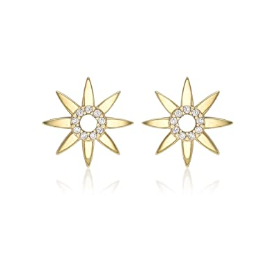 73f22abdb Carissima Gold Women 9 ct (375) Yellow Gold Round Cubic Zirconia 13.4 mm Flower  Stud Earrings: Amazon.co.uk: Jewellery
