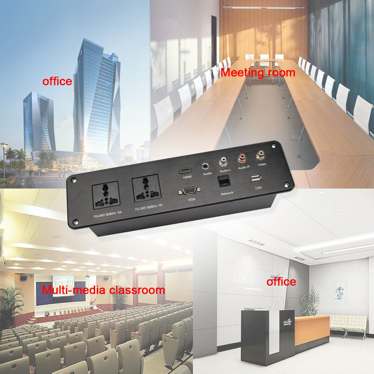 Multifunctional Tabletop Power Outlet Conference Table Cable Cubby Socket for Countertops Worktop