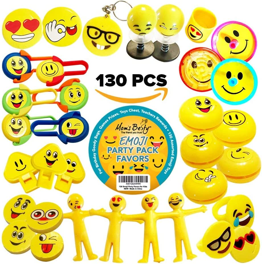 Party Packs Favors for Kids - 130 Pc EMOJI Toy Assortment for Boys and Girls – Bulk Emoticon Small Toys for Birthday Goody Bags, Games Prizes, Pinata Fillers, Toy Chests