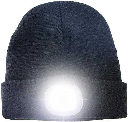 Unisexe Mains Libres avec 4 Headlamp Cap LED Lampe Frontale Lampe De Poche dhiver Bonnet en Maille pour Camping Marcher La Nuit LED Lighted Bonnet Cap