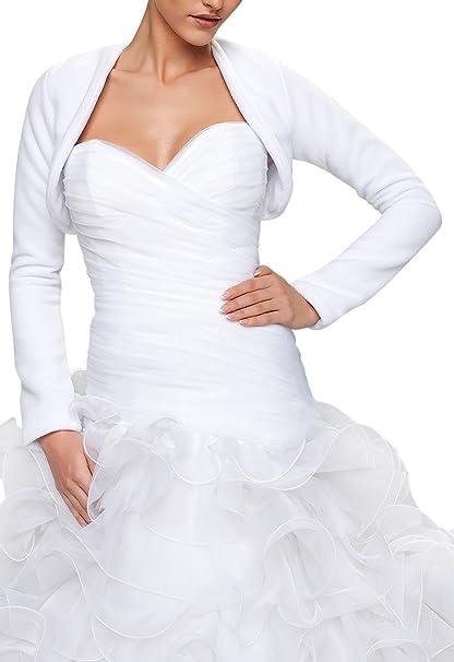 size 40 c0985 00c72 Coprispalle Stile Bolero Matrimoniale in Pile da Sposa a Maniche Lunghe
