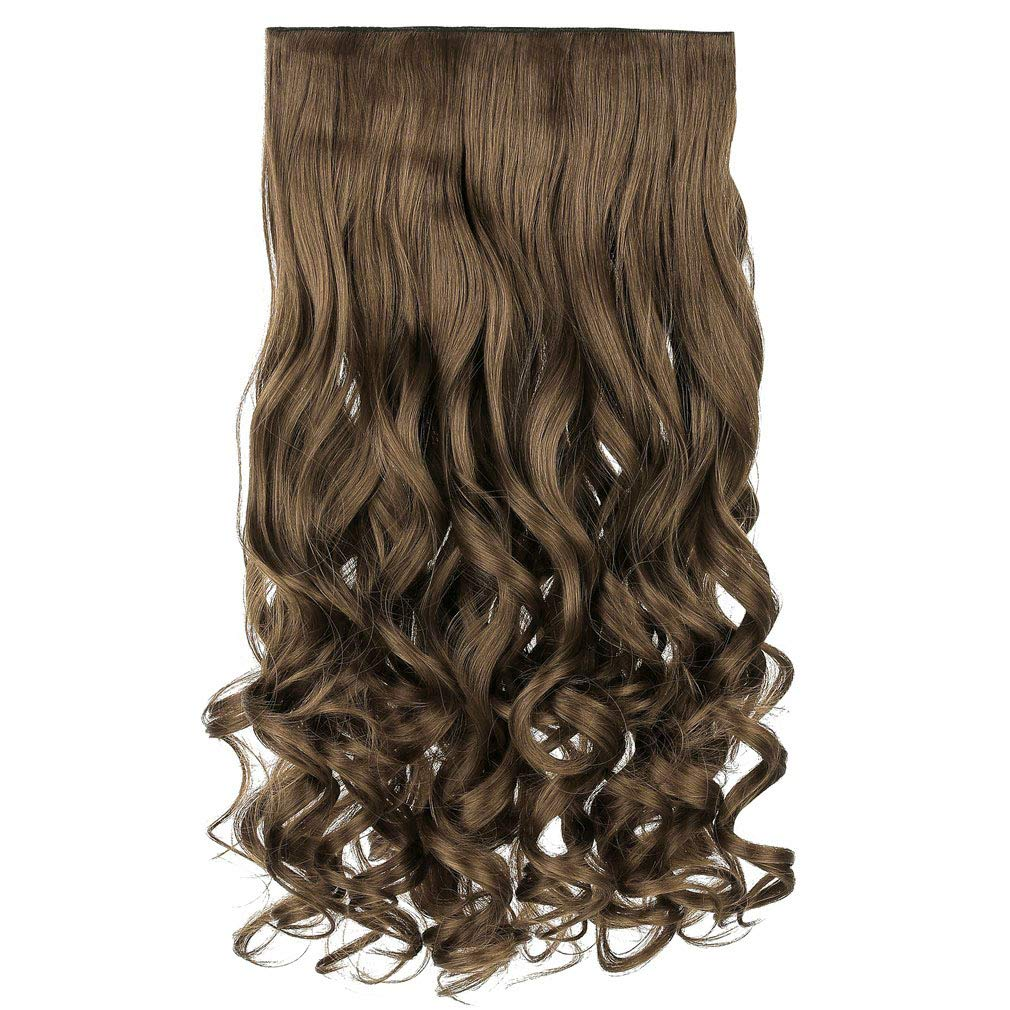 """REECHO 20"""" 1-pack 3/4 Full Head Curly Wave Clips in on Synthetic Hair Extensions Hair pieces for Women 5 Clips 4.6 Oz Per Piece - Ash Light Brown"""