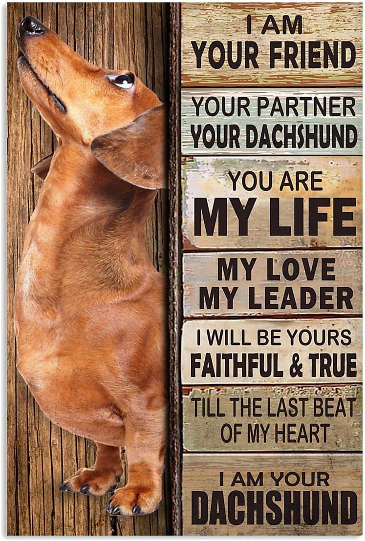 """Dachshund Partner Art I'm Your Friend You're My Life My Love My Leader Wall Art Hanging Poster Painting Canvas Paper Photography Abstract Watercolor Living, Bedroom, Home Decor (27""""x40"""")"""
