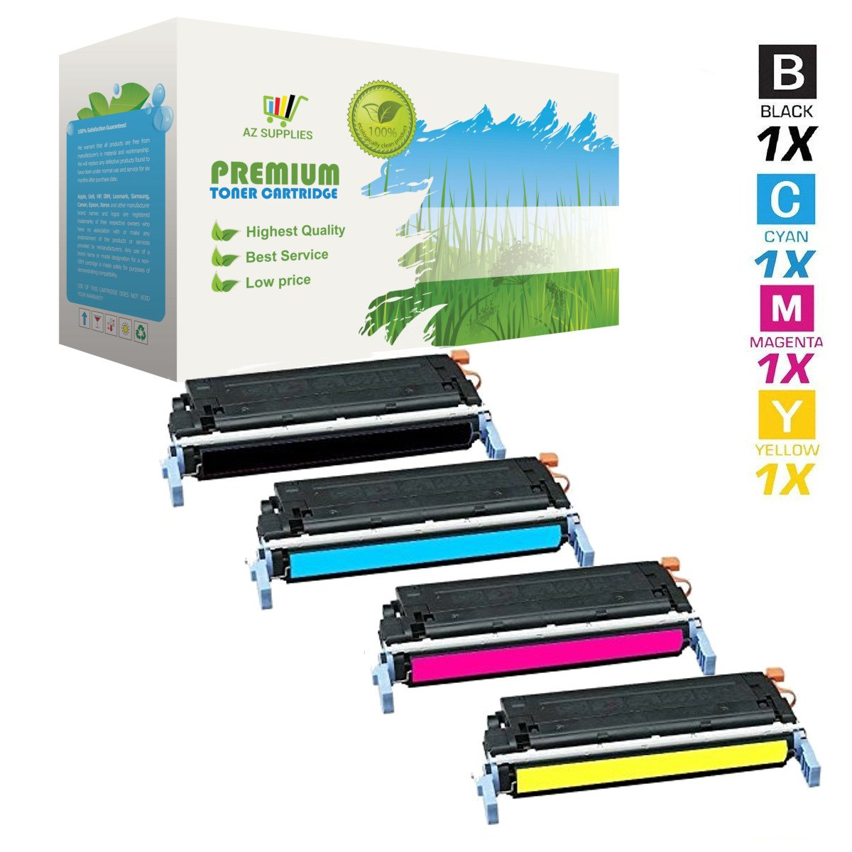 AZ Supplies © Re-Manufactured Replacement Toner Cartridges for HP 641A, C9720A, C9721A, C9722A, C9723A, 4 Color Set for use in HP Color LaserJet 4600,4600dn,4600hdn,4600n,4650,4650dn,4650dtn,4650n