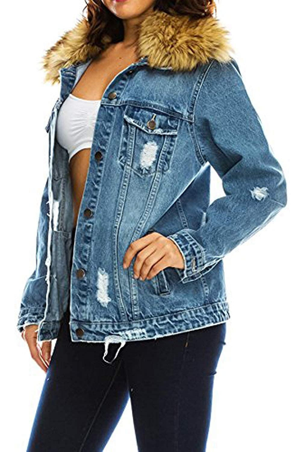 TwiinSisters Womens Boyfriend Destroyed Front Back Denim Jacket Size Small to 3X