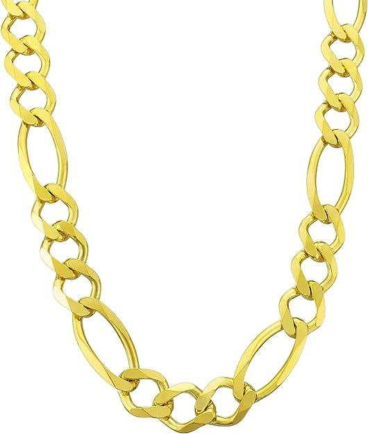 "Polymer Protected Men/'s Luxury 12mm 24/"" 9/"" Gold Figaro Necklace Bracelet Set"