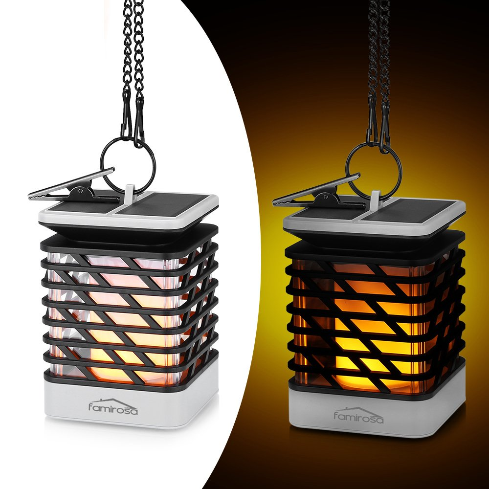 Famirosa Solar Lantern Outdoor Hanging, Garden Lights Solar Powered Flame Torch Lanterns for Pathway Garden Deck Waterproof …