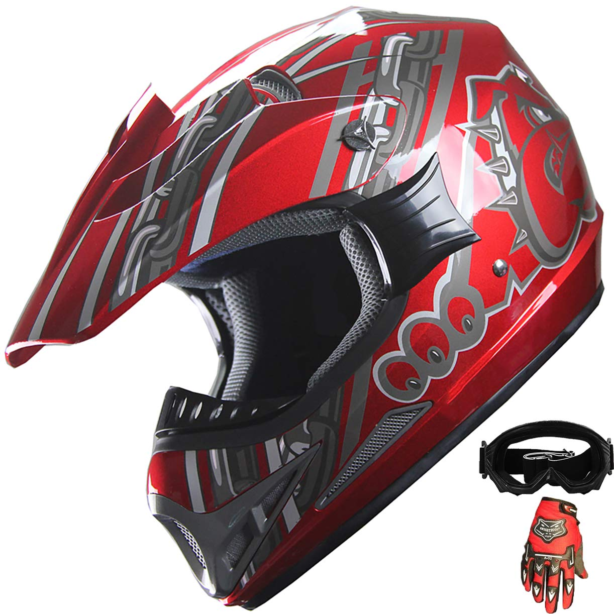 Amazon.com: ATV Motocross Off Road Casco Combo A28 vino rojo ...