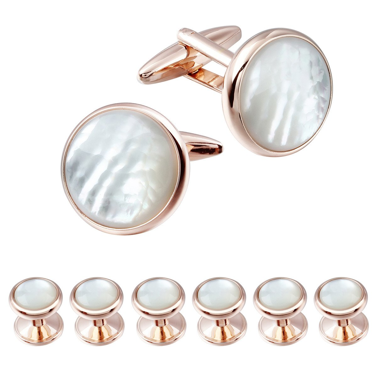 HAWSON Exquisite Mother of Pearl Cuff Links Shirt Studs Set Rose Gold and Gold 1