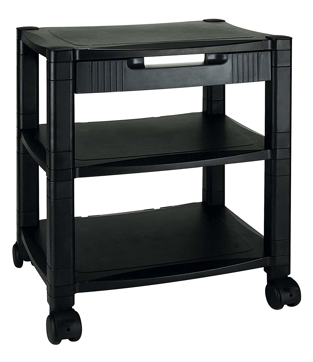 Wheeled 3-Shelf Printer Stand / Office Trolley With Integrated Storage Drawer Aidata