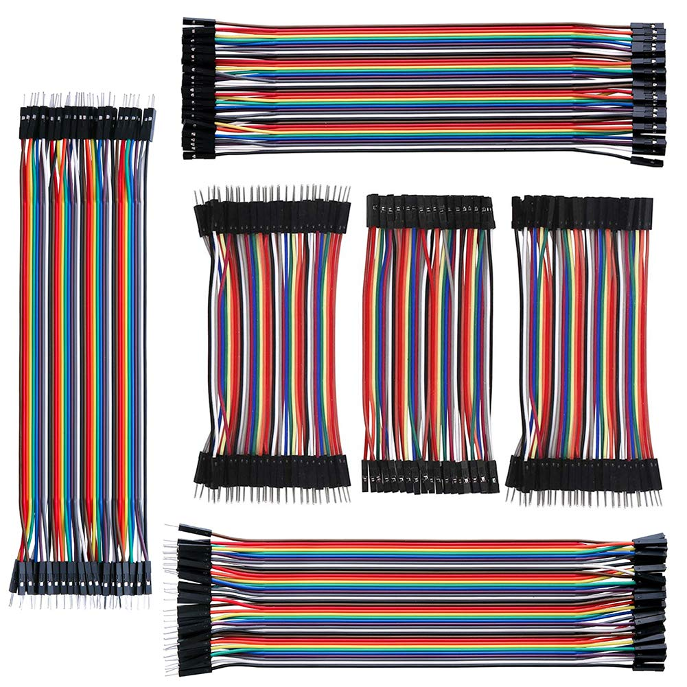 IZOKEE 240pcs 10CM and 20CM Jumper Wire Solderless Breadboard Jumper Wires Male to Female, Male to Male, Female to Female for Arduino Project (3x10cm, 3x20cm)