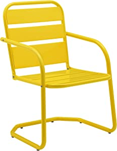 Crosley Furniture CO1030-YE Brighton Retro Metal Chair, Set of 2, Yellow