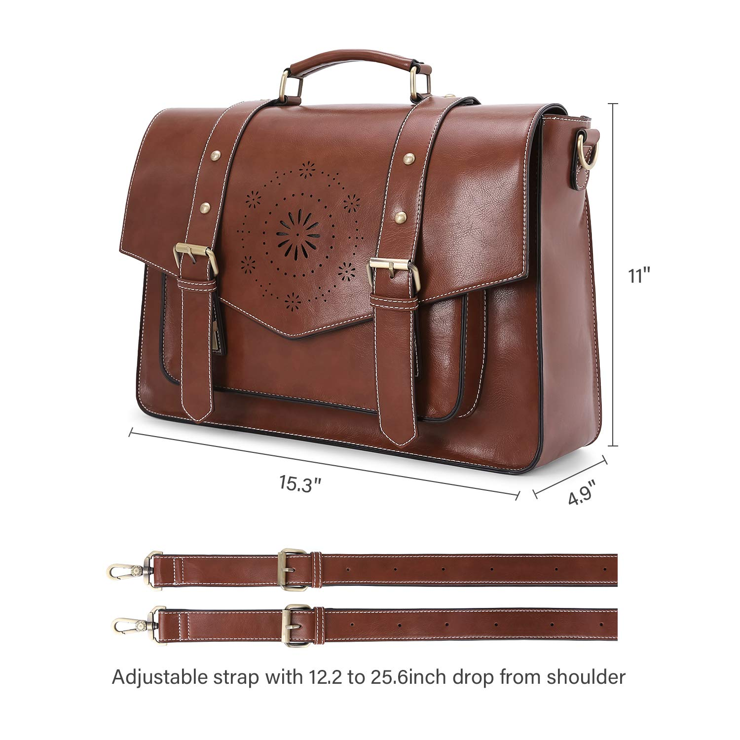 ECOSUSI Backpack for Women Briefcase Messenger Laptop Bag Vegan Leather Satchel Work Bags Fits 15.6 inch Laptops, Coffee by ECOSUSI (Image #8)