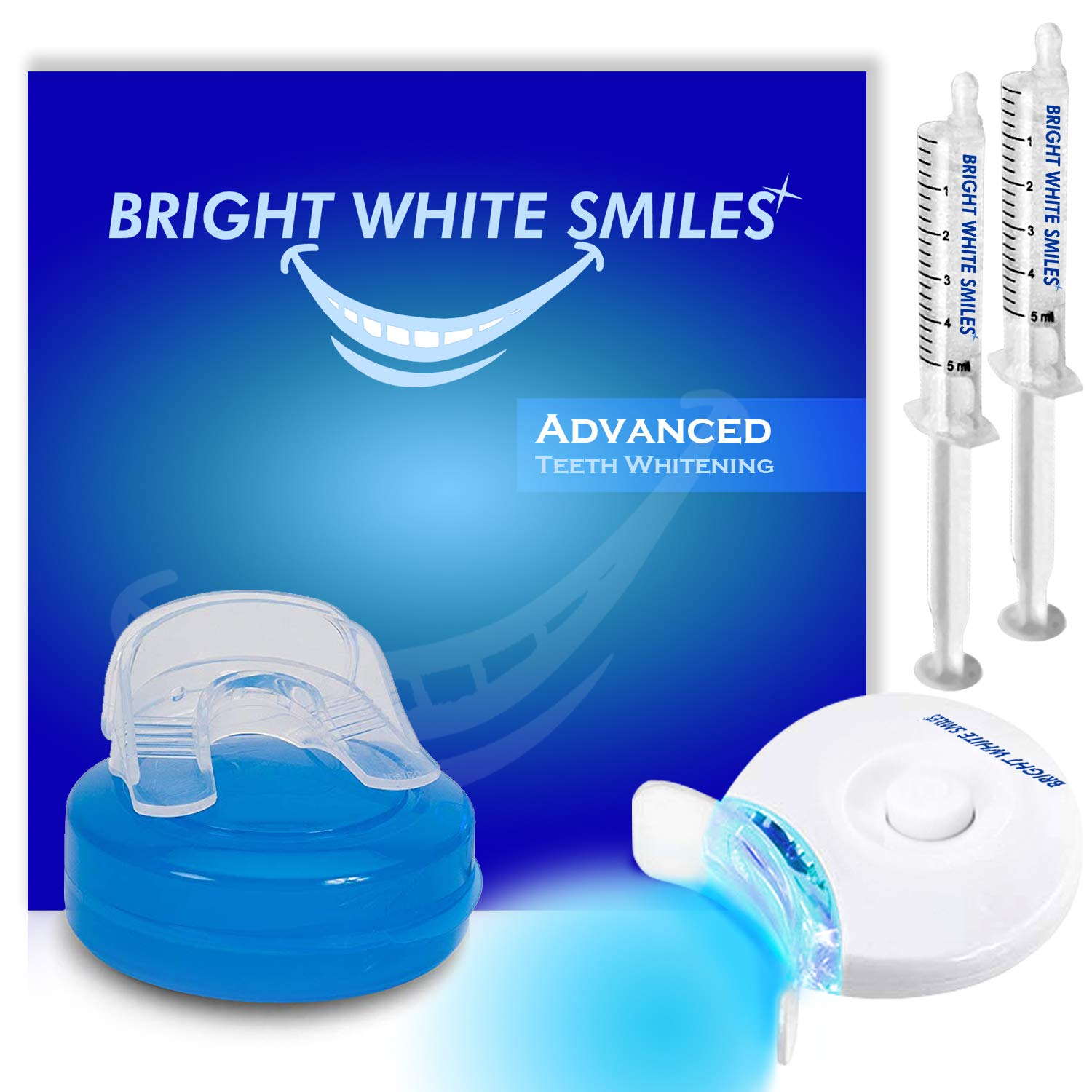 Bright White Smiles Teeth Whitening Kit | LED Light Activated Teeth Whitener | With 2x 5ml 35% Carbamide Peroxide Gel Syringes | Comfort Fit Mouth Tray & Case | For Home Use | Professional Results Dentech