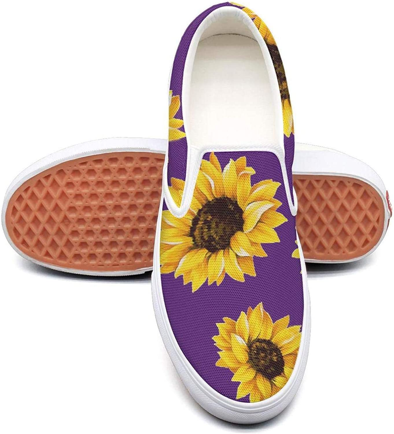 Cute Sunflower Classic Canvas shoes Slip On Skate Sneakers womens Fashion Print cool Durable shoe